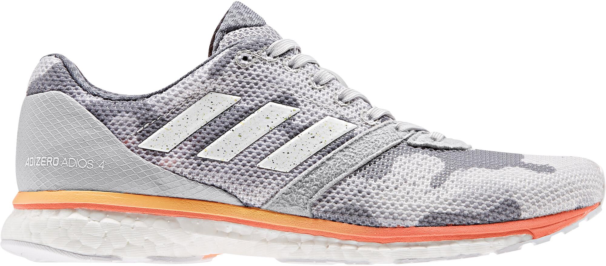 adidas Adizero Adios 4 Sko Damer, grey two/footwear white/hi-res coral (2019) | Running shoes