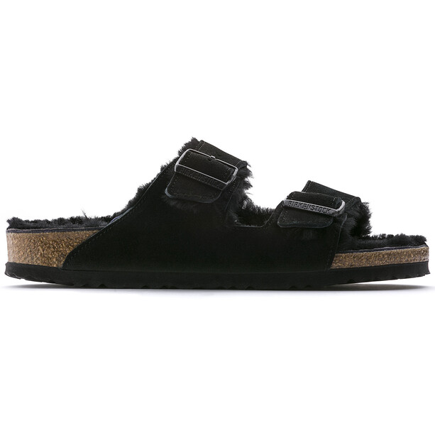 Birkenstock Arizona Sandals Suede Leather/Sheepskin Narrow Women Black/Black