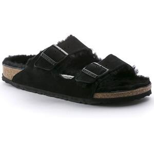 Birkenstock Arizona Sandals Suede Leather/Sheepskin Narrow Women Black/Black Black/Black