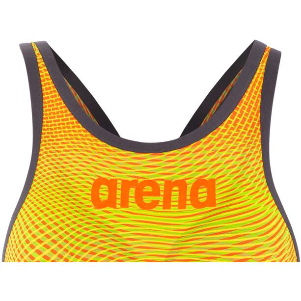 arena Powerskin Carbon Air2 Full Body Short Leg Oper Back Badeanzug Damen lime/orange