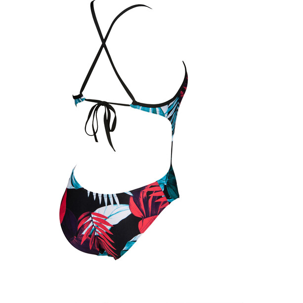 arena Tropical Leaves Tie Back One Piece Badeanzug Damen black/multi