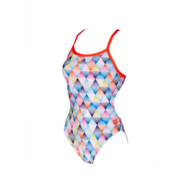 arena Linear Triangle Challenge Back One Piece Swimsuit Women white multi/nectarine
