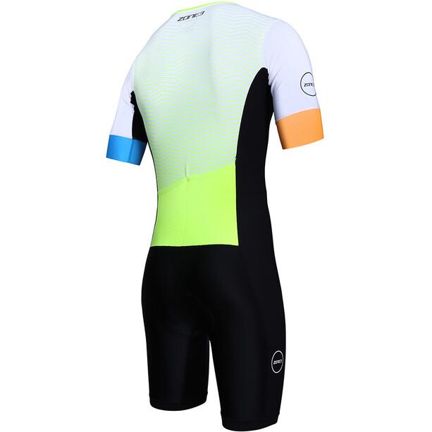Zone3 Lava Kurzarm Aero Trisuit Herren ltd ed-black/white/orange/blue/yellow
