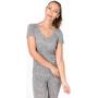 super.natural Base Print 140 V-Ausschnitt T-Shirt Damen ash melange/ash stars