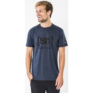 super.natural Essential I.D. T-Shirt Herren blue iris melange/jet black logo blue iris melange/jet black logo