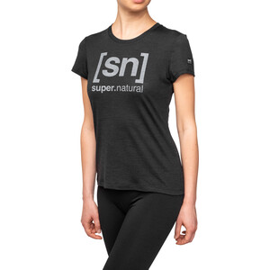 super.natural Essential I.D. T-Shirt Damen jet black melange/vapor grey logo jet black melange/vapor grey logo