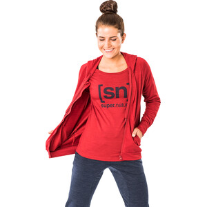 super.natural Essential I.D. Langarm Shirt Damen red dhalia melange/blue iris logo red dhalia melange/blue iris logo