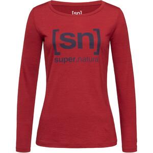super.natural Essential I.D. Langarm Shirt Damen red dhalia melange/blue iris logo red dhalia melange/blue iris logo