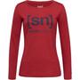 super.natural Essential I.D. Langarm Shirt Damen red dhalia melange/blue iris logo