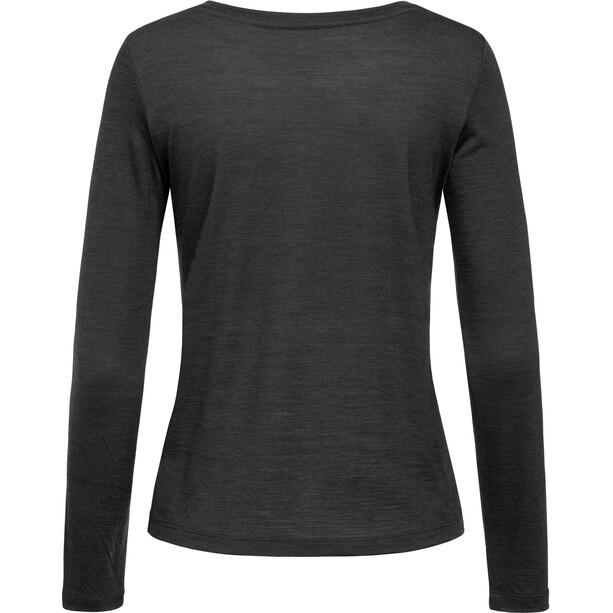 super.natural Essential Scoop Langarm Shirt Damen jet black melange
