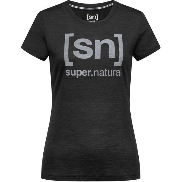 super.natural Essential I.D. Tee Dam jet black melange/vapor grey logo