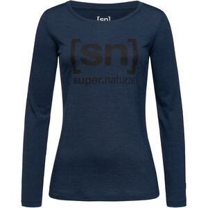 super.natural Essential I.D. LS Shirt Women blue iris melange/jet black logo blue iris melange/jet black logo