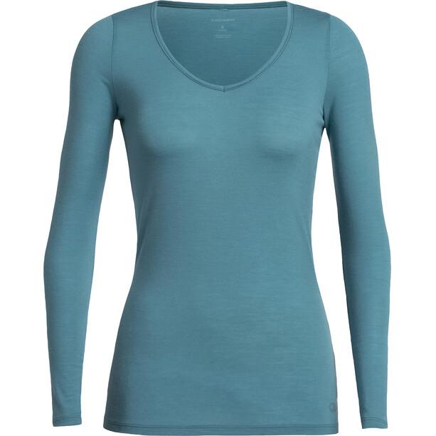 Icebreaker Siren LS Herzausschnitt Shirt Damen blue spruce