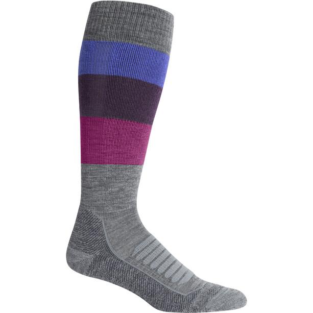 Icebreaker Ski+ Medium OTC Wide Stripe Socken Damen gritstone heather