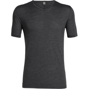 Icebreaker Solace SS V-Neck Shirt Herr black heather black heather