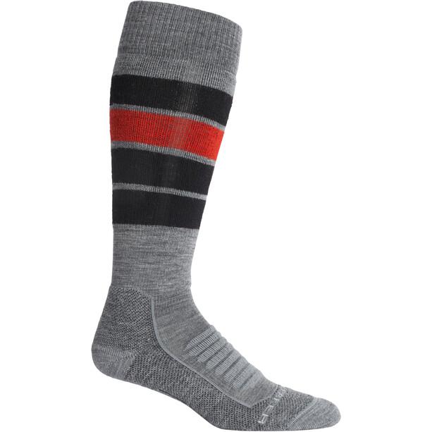 Icebreaker Ski+ Medium OTC Heritage Stripe Socks Herr grå/röd