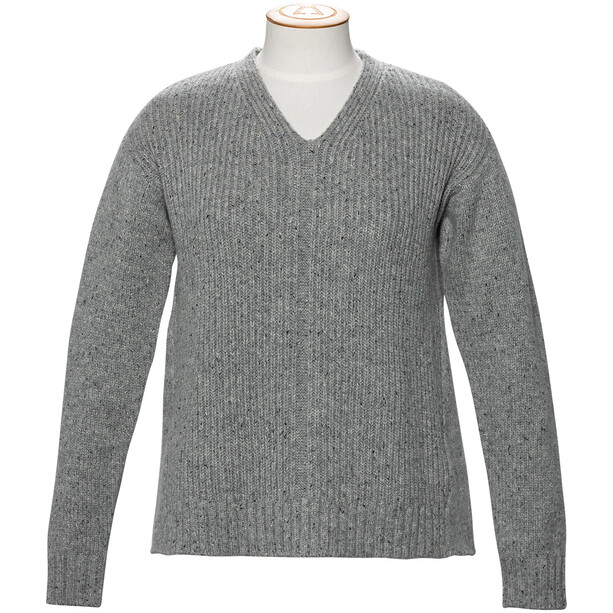 Alchemy Equipment 3GG Lambswool Tweed Relaxed V-Neck Pullover Dam Grey Tweed
