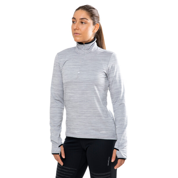 Craft Grid Halfzip Pullover Damen grey melange