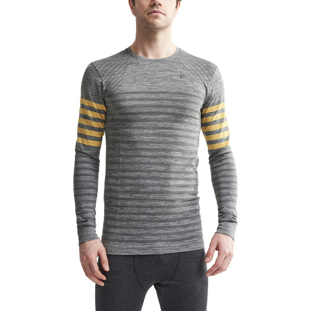 Craft Fuseknit Comfort Blocked Rundhals-Langarmshirt Herren dark grey melange/buzz