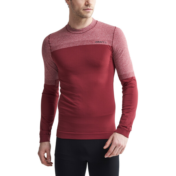 Craft Warm Intensity LS Rundhalsshirt Herren rhubarb/black melange