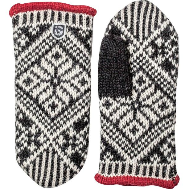 Hestra Nordic Wool Moufles, noir/blanc