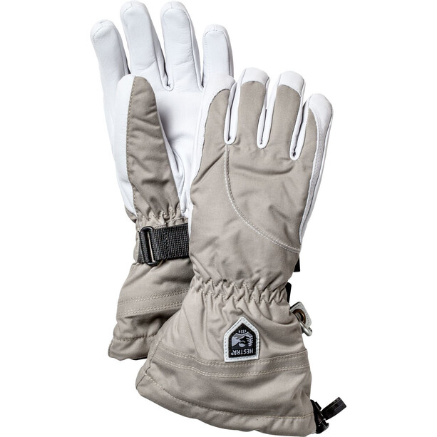 Hestra Heli Ski 5 Finger Gloves Women khaki/off-white