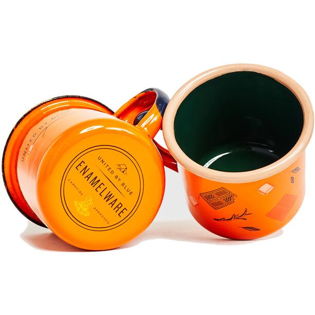 United By Blue Get Toasted Emaille Stahl Shot Glas Set 177ml orange