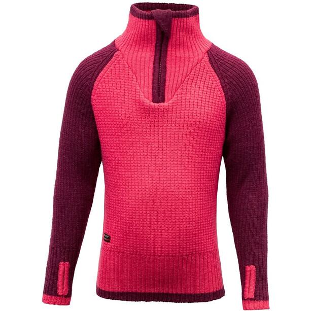 Devold Varde Zip Neck Sweater Barn plum
