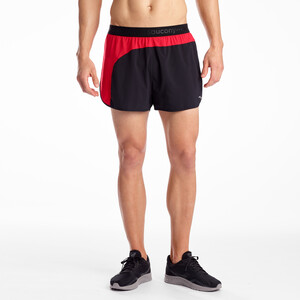 "saucony Split Second 2,5"" Shorts Herren black/saucony red black/saucony red"