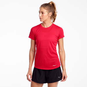 saucony Stopwatch Shortsleeve Shirt Women saucony red saucony red