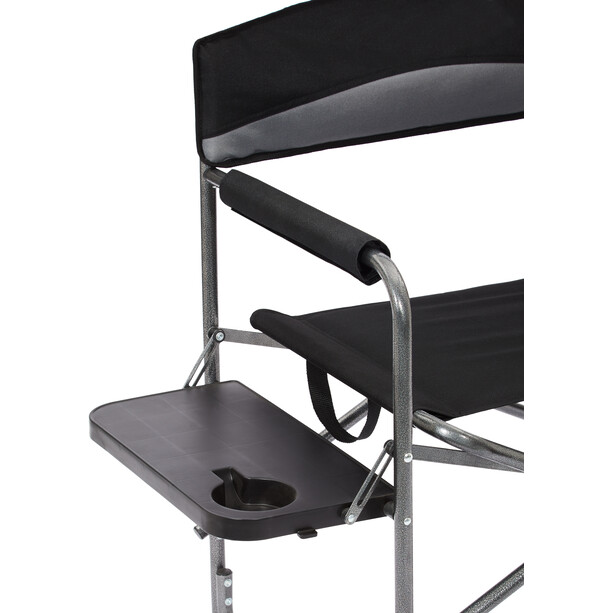 CAMPZ Faltstuhl mit Seitentisch schwarz/grau