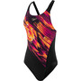 speedo ColourStream Placement Recordbreaker Badeanzug Damen colourstream black/electrc pink