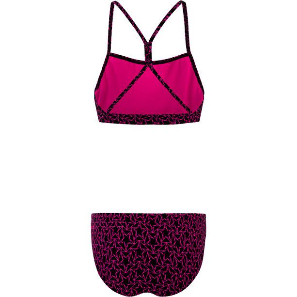 speedo Boomstar Allover Thinstrap Zweiteiliger Bikini Damen black/electric pink