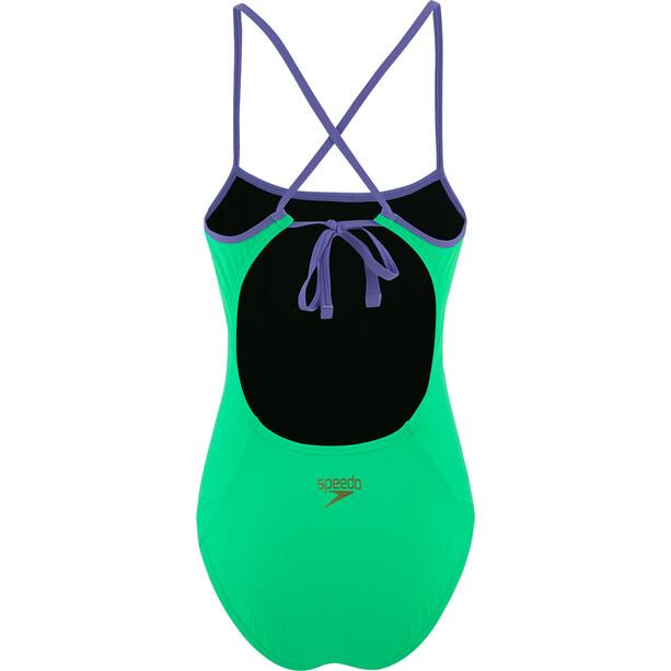 speedo Solid Tie-Back Badeanzug Damen green glow/ultra violet