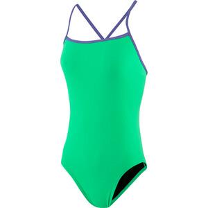 speedo Solid Tie-Back Badeanzug Damen green glow/ultra violet green glow/ultra violet