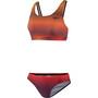 speedo Placement U-Back Zweiteiler Damen sunstripe true navy/orange