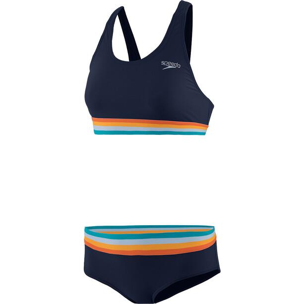 speedo Solid U-selkä 2-osainen Naiset, true navy/orange fizz/mango
