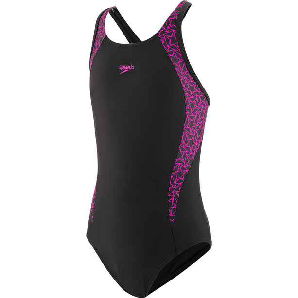 speedo Boomstar Splice Flyback Badeanzug Mädchen black/electric pink