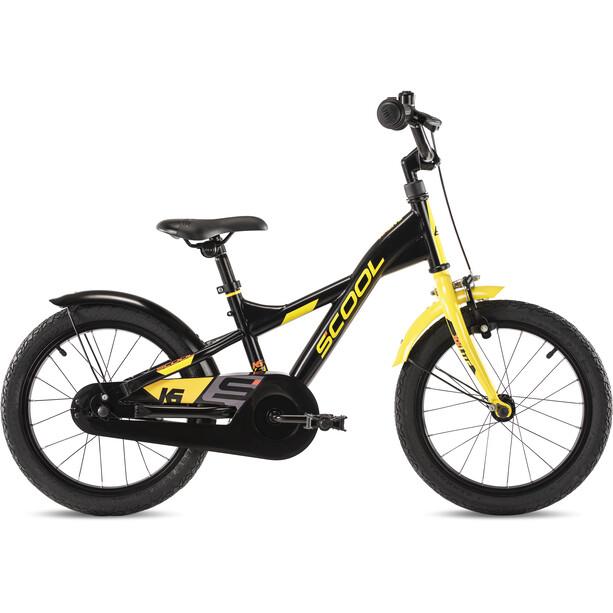 s'cool XXlite steel 16 Kinder black/yellow matt