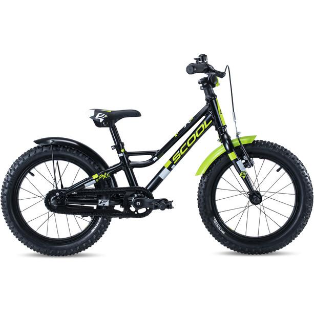 s'cool faXe alloy 16 Kinder black/lemon matt reflex