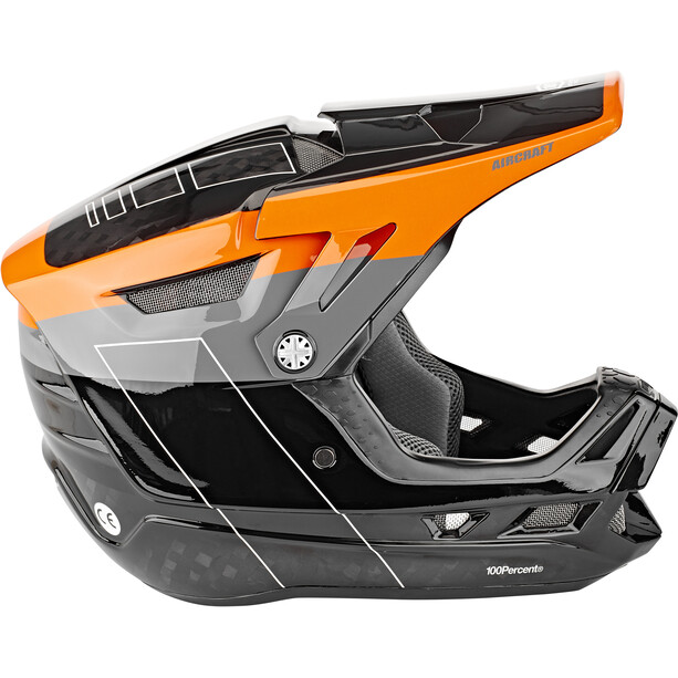 100% Aircraft DH Helmet incl. Mips darkblast