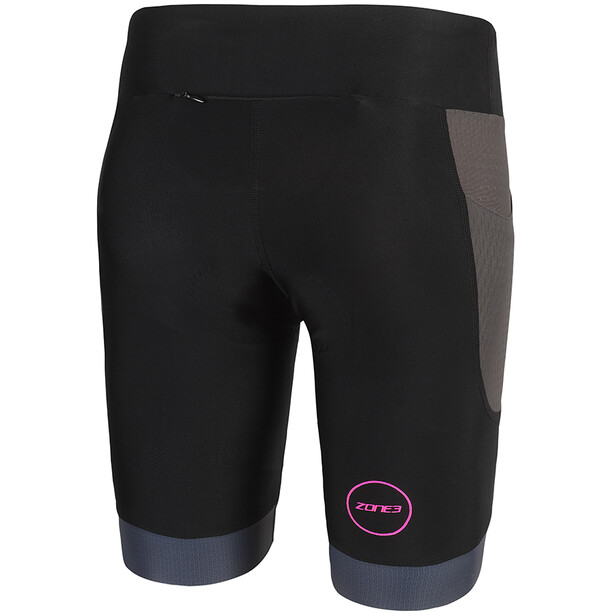 Zone3 Aquaflo Plus Shorts Damen black/grey/neon pink