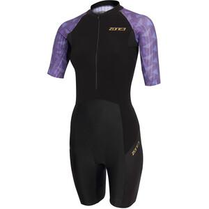Zone3 Lava Kortærmet triatlondragt Damer, sort/violet sort/violet