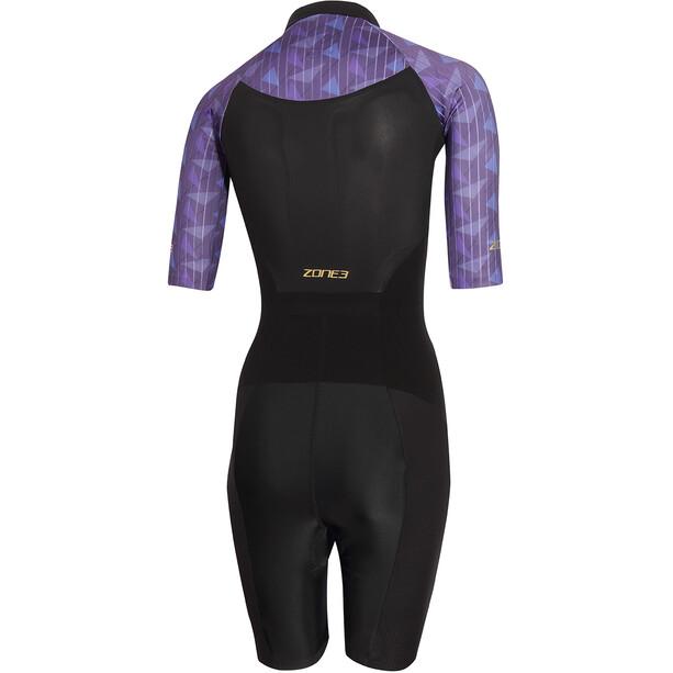 Zone3 Lava Kortærmet triatlondragt Damer, sort/violet