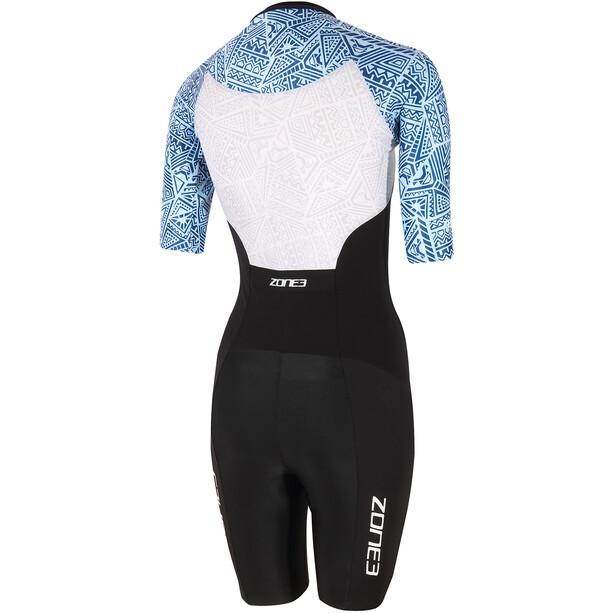 Zone3 Lava Kortærmet triatlondragt Damer, sort/blå
