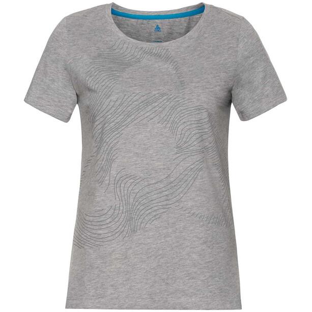 Odlo Core Bl Kurzarm-Rundhalsshirt Damen grey melange/placed print FW18