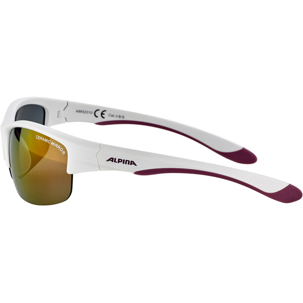 Alpina Flexxy HR Glasses Youth white matt-purple/pink mirror