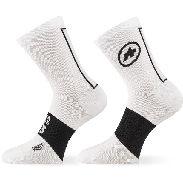 ASSOS Assosoires Chaussettes, blanc/noir