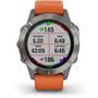 Garmin Fenix 6 Sapphire Titanium Multisport GPS Smartwatch grey/silver/orange Wristband