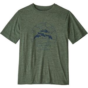 Patagonia Capilene Cool Daily SS Shirt Pojkar live simply porpoise boy/kale green x-dye live simply porpoise boy/kale green x-dye